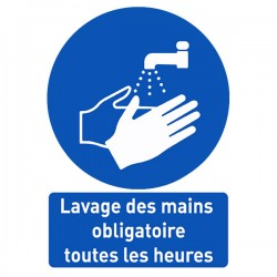 Affiche avec message d'information « Lavage des mains obligatoires toutes les heures »