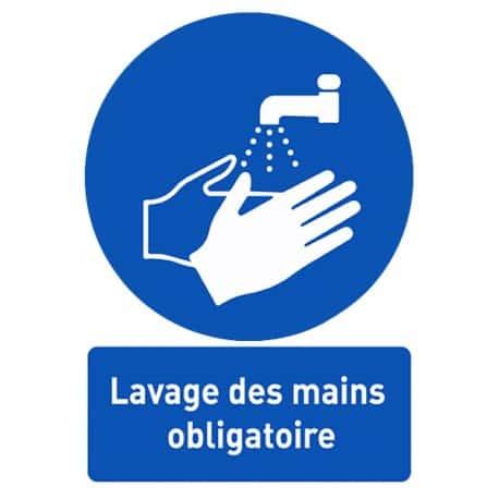 Affiche avec message d'information « Lavage des mains obligatoire »