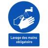 Affiche avec message « Lavage des mains obligatoire »