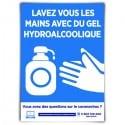 Affiche avec message « Lavez-vous les mains avec du gel hydroalcoolique »