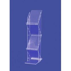 Porte bochures verre acrylique 4 étagères