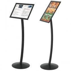 Porte menu noir format A3 sur pied pour extérieur