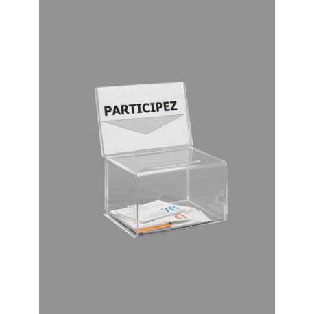 Urne cartes de visite transparente salon