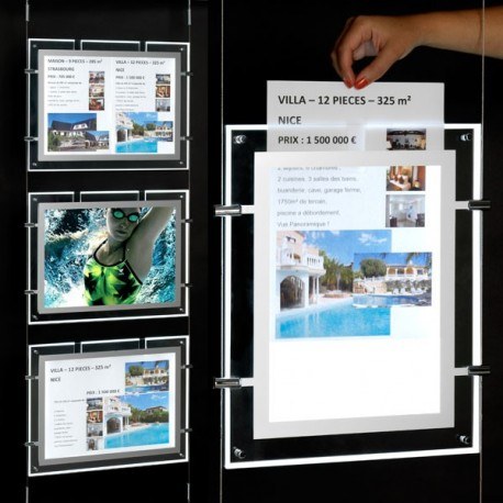 Porte affiche lumineux LED vitrine agence immobiliere