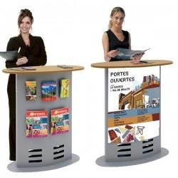 Totem comptoir évolutif salon et exposition avec porte brochures intégrés