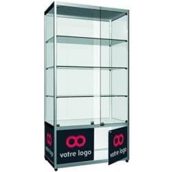 Vitrine produit salon show-room avec marquage logo