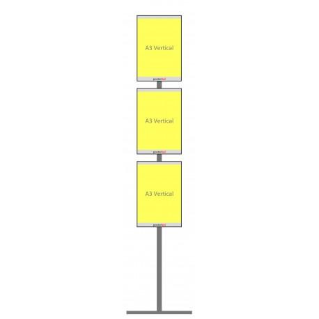 Totem 3 porte fiches A3 portrait lumineuses LED pour vitrine agence immobiliere