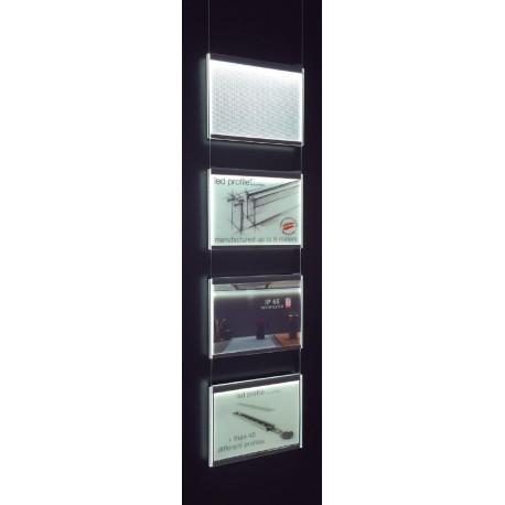 Kit 4 porte fiches lumineux LED A4 paysage pour fixation plafond vitrine agence immobilière