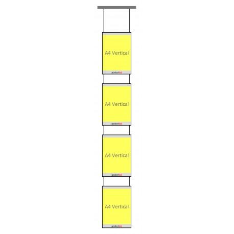 Kit 4 porte fiches lumineux LED A4 portrait pour fixation plafond vitrine agence immobilière