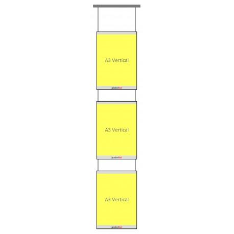 Kit 3 porte fiches lumineux LED A3 portrait pour fixation plafond vitrine agence immobilière