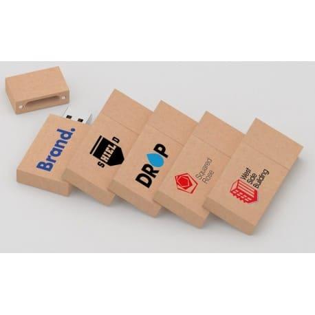 Clé USB publicitaire recyclée écologique en carton Paper Drive, goodies developpement durable