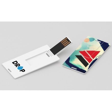 Clé USB format petite carte marquage quadri Color Card Small avec porte clés pour dossier de presse