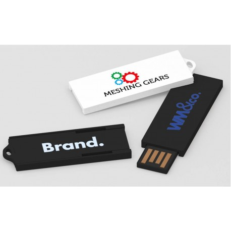 Clé USB ultra-fine rétractable Minimal avec marquage logo quadri