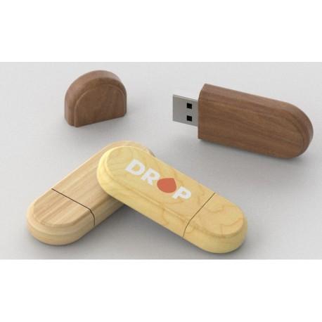 Clé USB bois arrondie Limb objet publicitaire ecolo naturel avec marquage logo