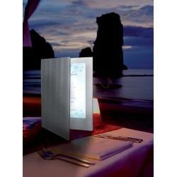 Menu LED A4 double face argent pour carte cocktail bar, restaurant, boissons club discothèque