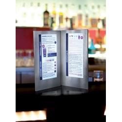 Menu LED format carte Cocktail 35x19cm argent pour bar, restaurant, club, discothèque, hôtel, plage privée