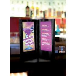 Menu LED format carte Cocktail 35x19cm noir pour bar, restaurant, club, discothèque, hôtel, plage privée