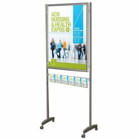 Porte-affiche de grande taille avec porte-brochures