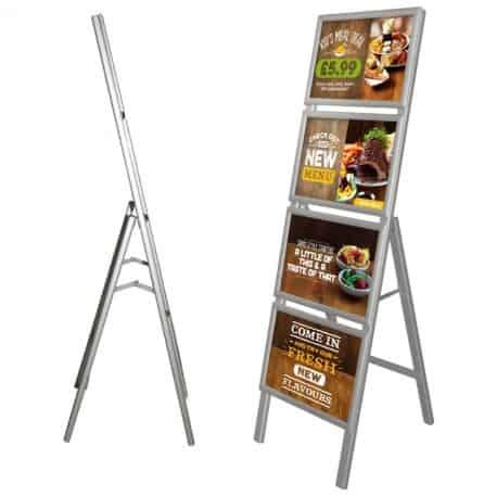 Chevalet porte-affiches en aluminium (4 cadres A3)