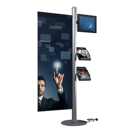 Mât LCD avec 2 porte-brochures