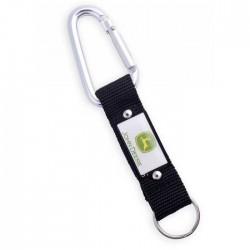 Porte-clés avec mousqueton aluminium et strap nylon noir