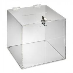 Urne transparente de comptoir pour les éléctions, les jeux, les concours....