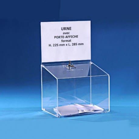 Urne transparente doté d'un porte-affiche