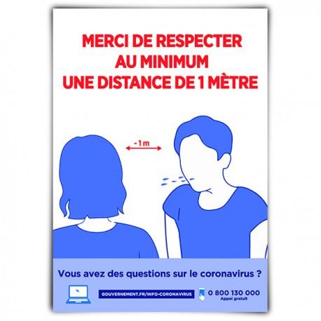 Affiche avec message d'alerte « Merci de respecter au minimum une distance de 1 mètre »