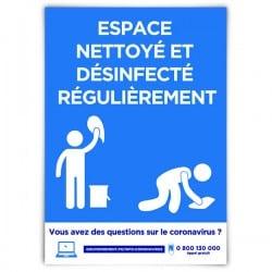 Affiche avec message d'information « Espace nettoyé et désinfecté régulièrement »