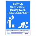 Affiche avec message « Espace nettoyé et désinfecté régulièrement »