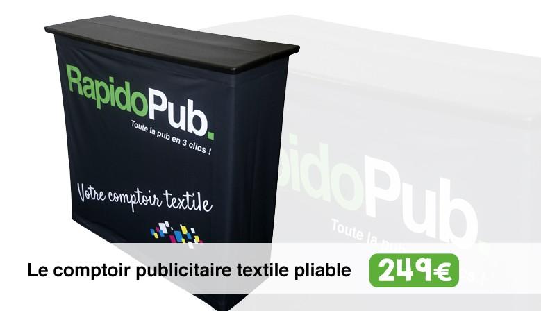 Le comptoir publicitaire textile pliable